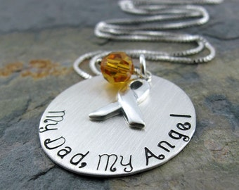 "My Dad, My Angel Necklace - 1"" Sterling Silver Stamped Disc, Awareness Ribbon Charm, Swarovski Crystal"
