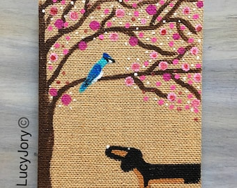 REDUCE Dachshund Burlap hand painted Cherry Blossom Journal with Bluejay