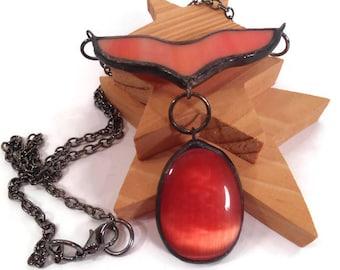 Stained Glass Pendant Orange Peach Jewelry Pendant CatsEye Glass Pendant Handmade Necklace Stained Glass Jewelry Unique Statement Jewelry