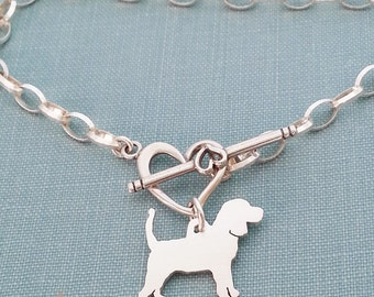 Beagle Hound Dog Chain Bracelet, Sterling Silver Personalize Pendant, Breed Silhouette Charm, Rescue Shelter, Gift Idea