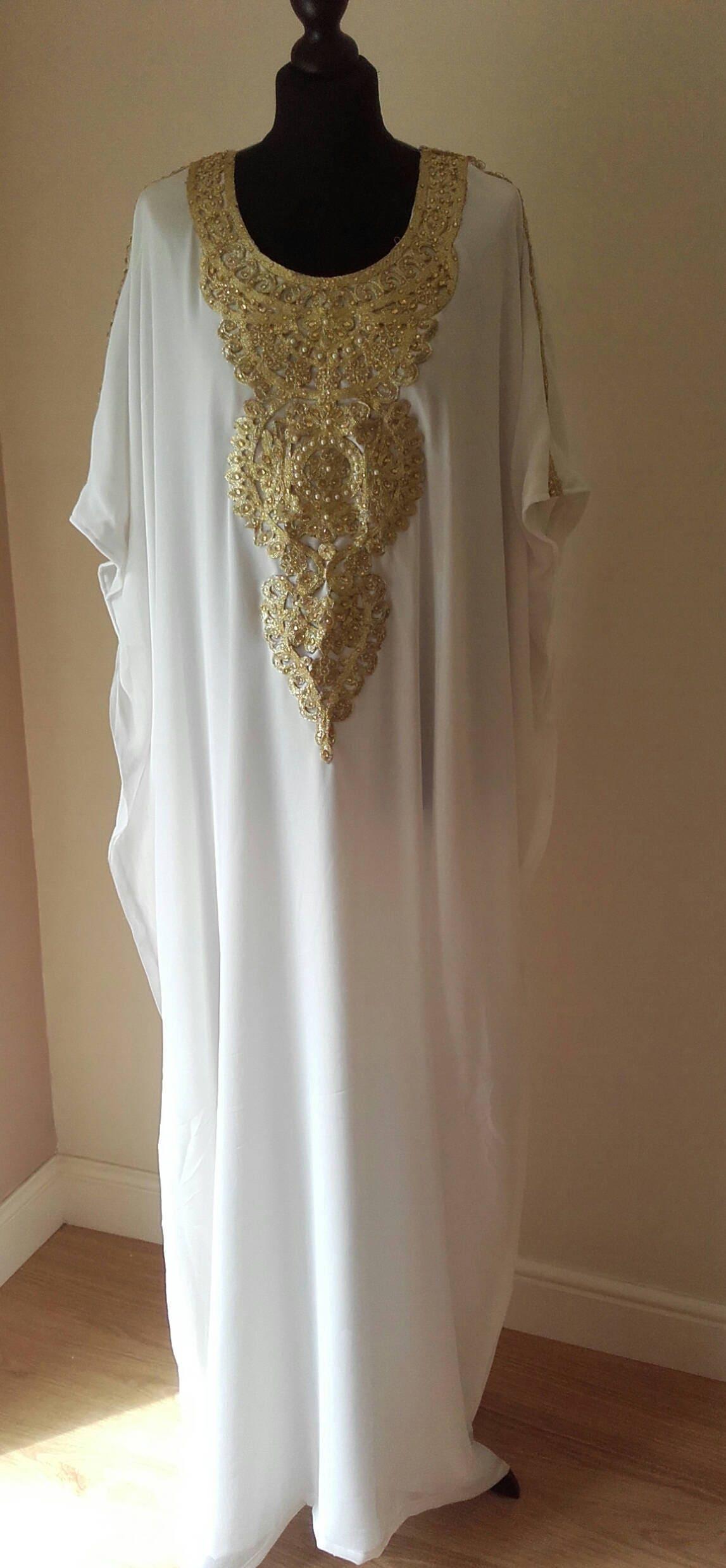 Dubai Abaya Kaftan Farasha Baby Shower White Gold Silver