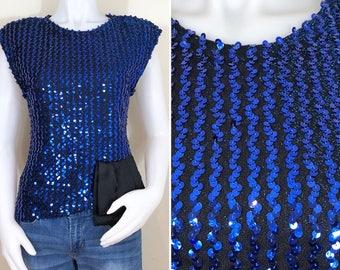 80s Glenrob Blue Sequin Asymmetrical Sleeveless Top, NWT, Size Small