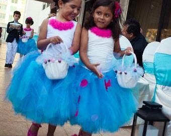 Turquoise Tulle Skirt - Sewn Tutu - Flower Girl Skirt  - Made to order - flower girls, photography prop, wedding - Teal, Turquoise, Aqua