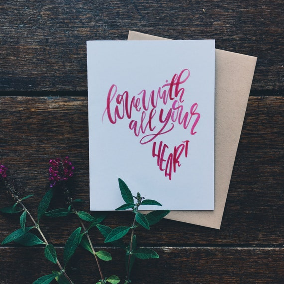 Sweet anniversary card, valentine's day card, romance card, hand lettered greeting card, card for her, paper goods, unique greeting card