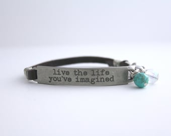 Girlfriend Gift, Inspirational bracelet, Inspirational Jewelry, Travel Quote, Life Quote, New Job Gift, Graduation Gift, Live Simply,