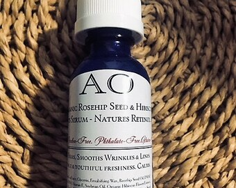 Organic Rosehip Seed & Hibiscus Extracts Serum - Firm/Lift Retinol A In Nature.