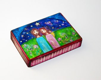 Our Starry Night - Our Family - ACEO Giclee print mounted on Wood (2.5 x 3.5 inches) Folk Art  by FLOR LARIOS