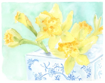 Signs of Spring, 8 x10 Daffodil and Chinoiserie Watercolor Print