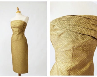 Vintage 1980s does 1950s golden lurex lame strapless wiggle dress - size S