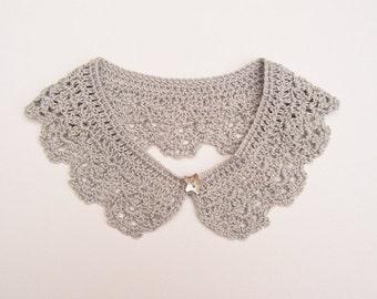 Silver Grey Lace Crochet Collar Necklace