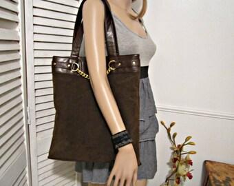 Vegan Tote, Computer Non Leather Tote, Shoulder Bag, Business Handbag