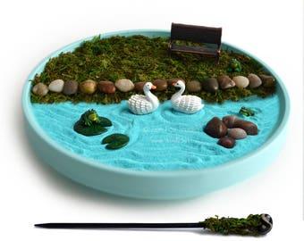 Mini Zen Garden // Miniature Pond Fairy Garden // Cubicle Decor // DIY Kit // Relaxation Gift // Frogs // Swans // Sand Art // Ocean Blue