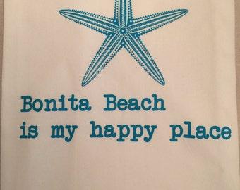 Flour sack Dish Towel, Bonita Beach is My Happy Place, 100% cotton dishtowel, aqua starfish