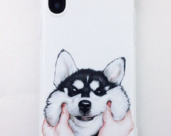 Silicone case for iPhones - Adorable Husky Face