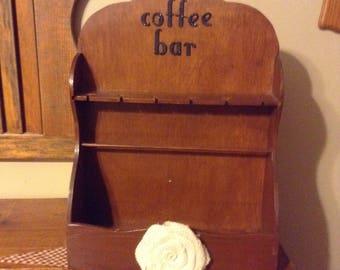 Coffee Bar Organizer, Coffee Bar Shelf, Coffee, Wood Shelf, Spoon Shelf, Wood Wall Bin, Spoon Display
