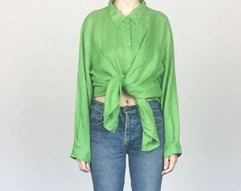 Oversized Green Linen Shirt (XL)