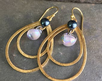 Pink-Icing: Pink Dichroic Teardrop Lampwork Glass Bead & 14K Gold Vermeil Grey Pearl Statement Earrings OOAK Unique Gift for by BijouDepot