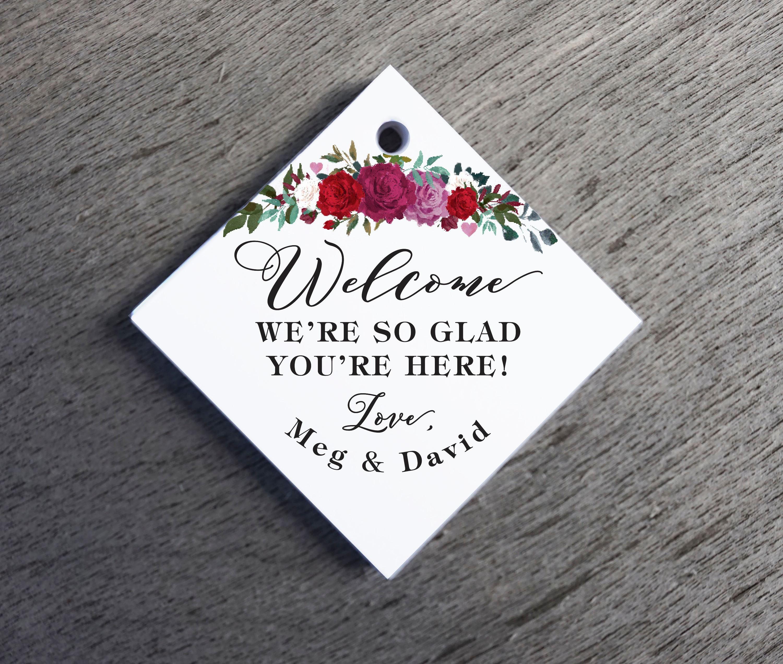 Floral Wreath Wedding Favor Tags Thank You Wedding Tags