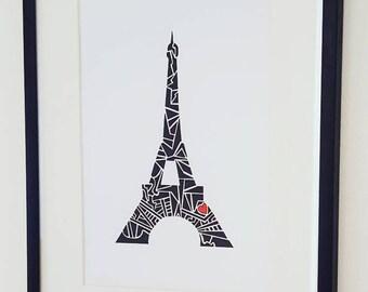 """Eiffel Tower  Art - Love Paris Eiffel Tower  Print - A5 (5.8"""" x 8.3"""")"""