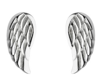 Silver Angel wing studs gift boxed
