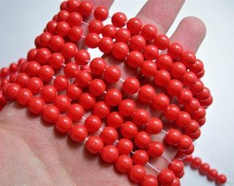 Pearl  - 8 mm round - Orange - 1 full strand - 48 beads - Shell pearl
