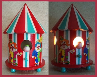 Handmade, Hand Painted, Circus Clown Birdhouse Nightlight Lamp, Childrens Room light, Nursery Nightlight, Tabletop, Unique Gift