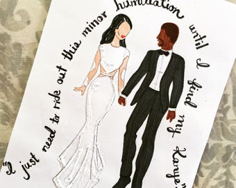 Sparkly Kim and Kanye Greeting Card