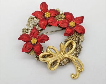 Vintage  Gold & Silver Tone Poinsettia Wreath Brooch With Bow