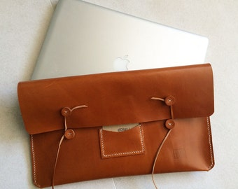 Leather Handmade Mac Book case . Laptop Leather Case