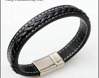 Black Genuine Leather Bracelet for men, Leather Braid Bracelet, Gift for him, Bracelet with Magnetic Buckle Clasp.