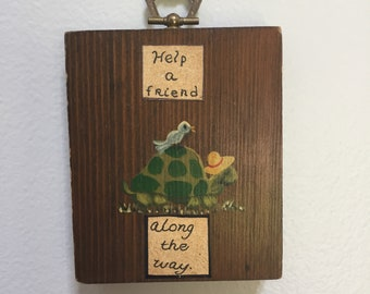 Small wall plaque, with hand painted picture.