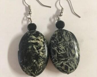 Black oval earrings
