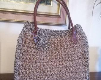 Crochet bag, crochet, shoulder bag, handmade, hand made in jute and leather side