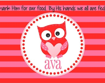 Valentine's Day Personalized Placemat - Kids Owl Placemat - Valentine Placemat - Pink Owl Childrens Placemat - Valentine Gift Girl