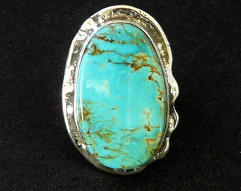 Evans Turquoise and Sterling Silver Ring with Reticulated Silver and Etched Sterling Band