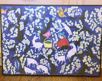 Vintage Chinese Print of Man Gathering Cotton with Goats and Flowers