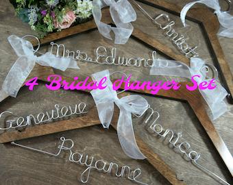 Personalized White Wood - Dress Hangers - Custom - Wedding Hanger - Wood Hanger - Set of 4 Hangers - Bridal Accessories - Bridesmaid Gifts