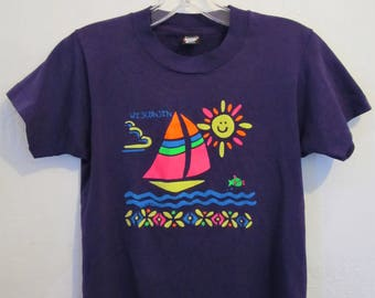 A Cute Little Vintage 80's,Purple Short Sleeve WISCONSIN T Shirt With NEON Colors By Screen Stars Best.M(10)