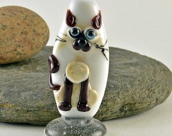 SIAMESE cat  lampwork glass bead, whimisical lampwork focal bead, Izzybeads SRA