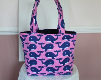 Pink and Blue Whale Tote Bag