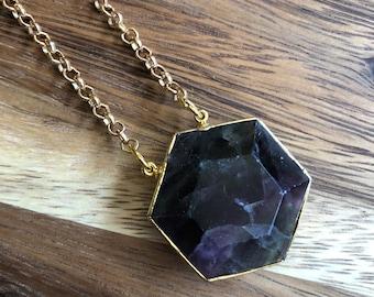Astris/// Simple Small Fluorite Hexagon Rolo Chain Statement Necklace/ Natural Purple Green Fluorite Gemstone Mineral Stone (DEJ-SOV11-FL)