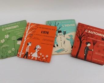 Je me renseigne sur l'HIVER, l'AUTOMNE, le PRINTEMPS, l'été,Vintage books written in French , Martha et Charles Shapp , 1970-1971