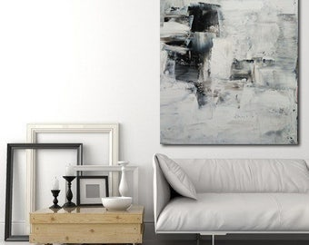 large minimalist painting black and white textured with a spatula made to order