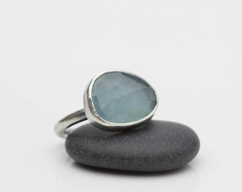 Aquamarine and Sterling Ring Rose Cut Aquamarine Ring Pale Blue Stone Faceted Aquamarine March Birthstone Size 7