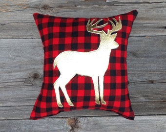 Metallic Gold Deer Pillow, Buffalo Plaid Pillow, Gifts For Him, Decorative Pillow, Woodland Decor, Christmas Gifts Under 30, Holiday Decor