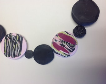 Pink and Black Collar Necklace With Magnetic Clasp