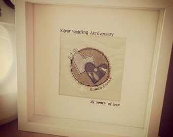 Handmade and Personalised Anniversary Boxed Frame , anniversary gift