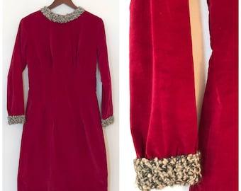 Vintage Velvet Dress / Med/Lg / Shearling Trim