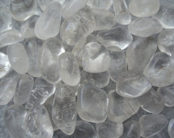 Clear Quartz Set of 6 Tumbled Rock Crystal Crystals Stones