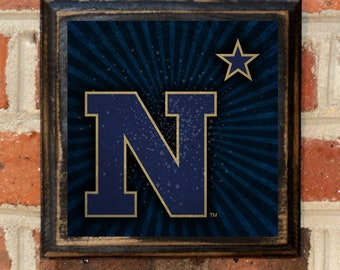 US Navy Seals N Star Logo Wall Art Sign Plaque Gift Present Home Decor Vintage Style USNA Sailor Naval Academy Forged By The Sea Antique